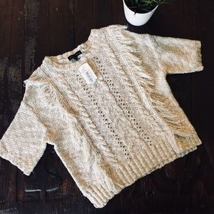 SANCTUARY Fringe Short Sleeve Cable Knit Sweater